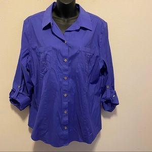 Chico's Purple Cotton Button Down Shirt Size 3